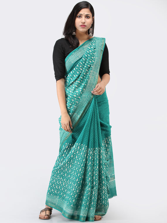 Teal Green White Maheshwari Silk Hand Block Printed Saree With Zari Border - S031704464