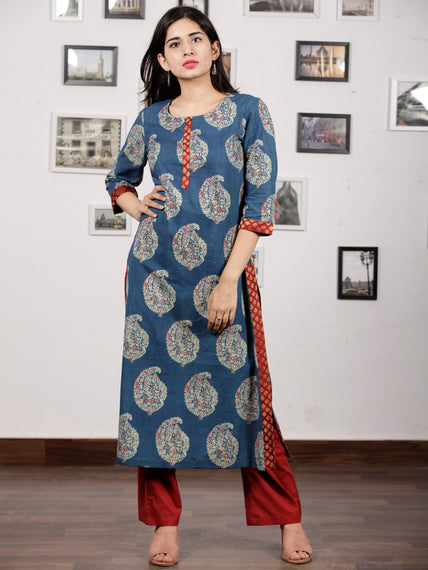 Indigo Green Red Ajrakh Hand Block Printed Kurta in Natural Colors - K121F846