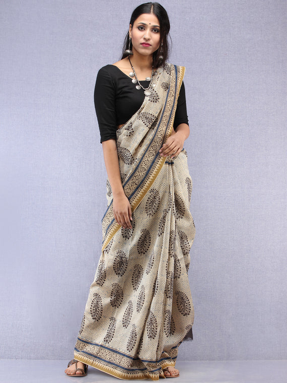 Ivory Black Hand Block Printed Chanderi Saree With Geecha Border - S031704518