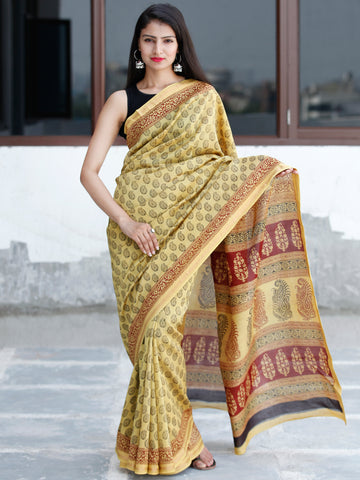 Yellow Maroon Black Bagh Hand Block Printed Maheswari Silk Saree With Resham Border - S031703836