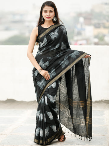 Black White Shibori Hand Block Printed Handwoven Linen Saree With Zari Border - S031704036