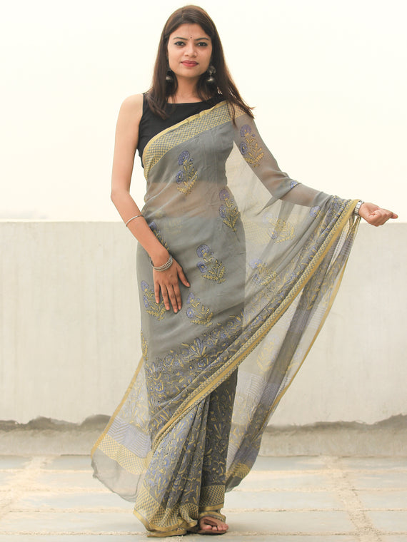 Grey Yellow Hand Block Printed Chiffon Saree with Zari Border - s031704108