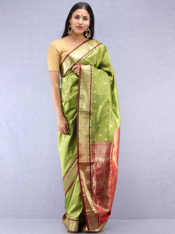 Banarasee Art Silk Saree With Zari Work- Light Green Gold & Maroon - S031704410