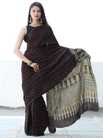 Black Red Indigo Bandhej Modal Silk Saree With Ajrakh Printed Pallu & Blouse - S031703881