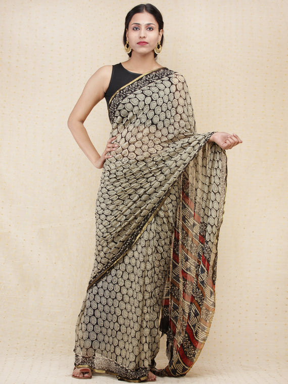 Beige Black Red Hand Block Printed Chiffon Saree with Zari Border - s031704160