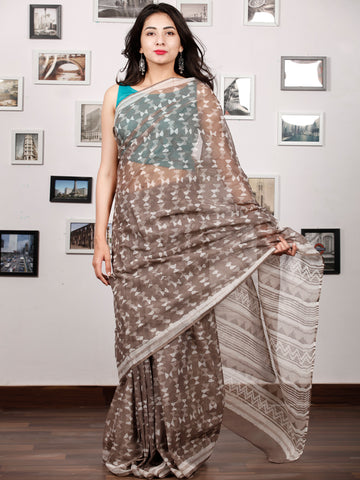 Beige White Hand Block Printed Kota Doria Saree In Natural Colors - S031703201