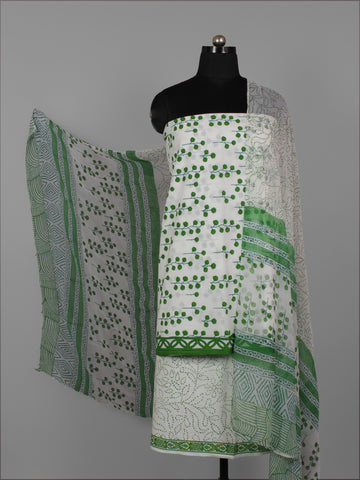 White Green Hand Block Printed Cotton Suit-Salwar Fabric With Chiffon Dupatta (Set of 3) - S16281287