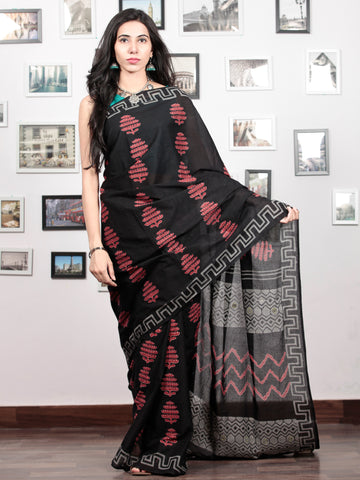 Black Red Grey Hand Block Printed Cotton Mul Saree With Mirror Work & Beads Tassels  - S031703025