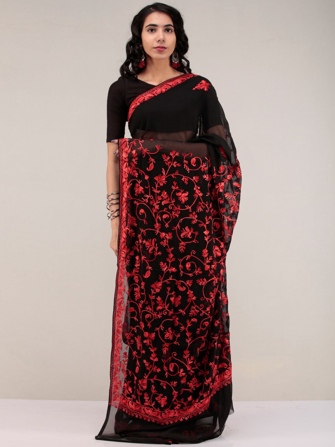 Black Aari Embroidered Georgette Saree From Kashmir - S031704633
