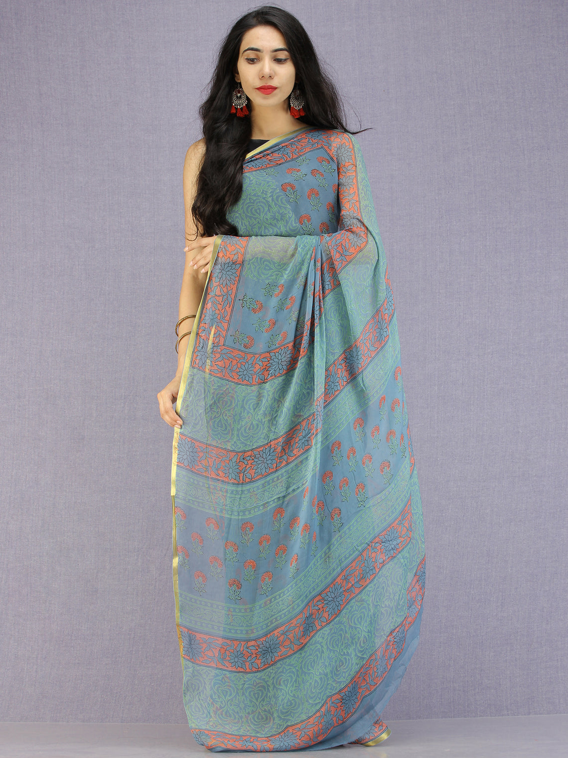 Steel Blue Coral Green Hand Block Printed Chiffon Saree with Zari Border - S031704593