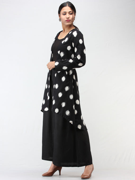 Black White Hand Woven Ikat Long Cape Jacket - J10FXXX