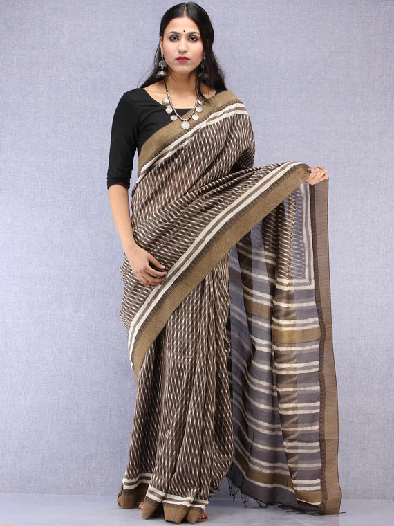 Kashish White Hand Block Printed Chanderi Saree With Geecha Border - S031704517