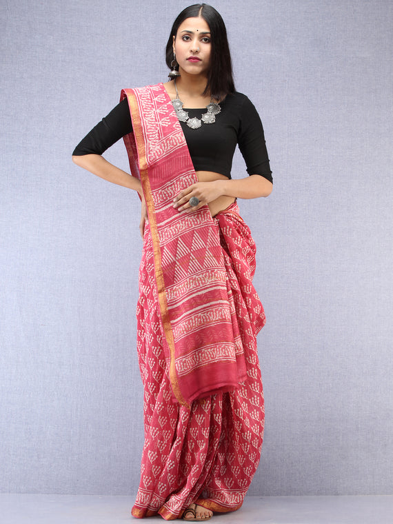 Pink Ivory Hand Block Printed Maheshwari Silk Saree With Zari Border - S031704490
