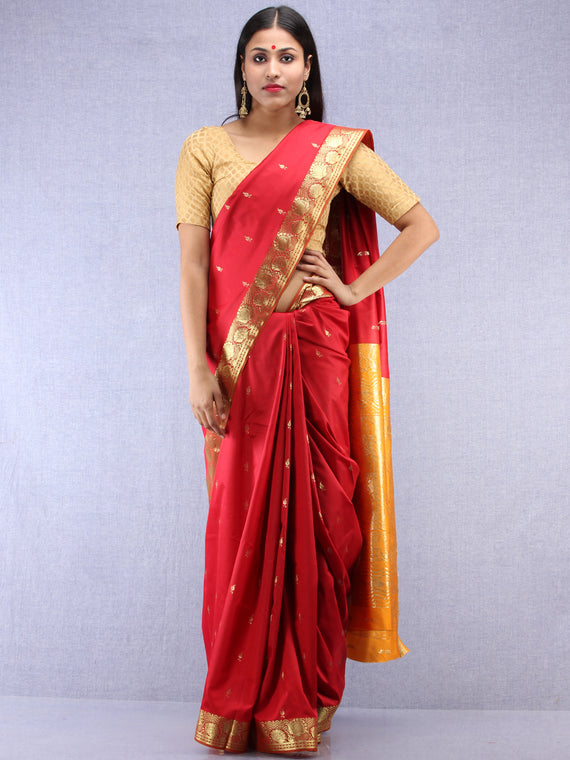 Banarasee Art Silk Saree With Zari Work - Red Yellow & Gold - S031704411