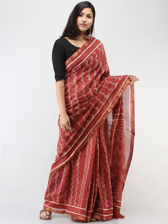 Rosewood Pink White Hand Block Printed Maheshwari Saree With zari Border - S031704465