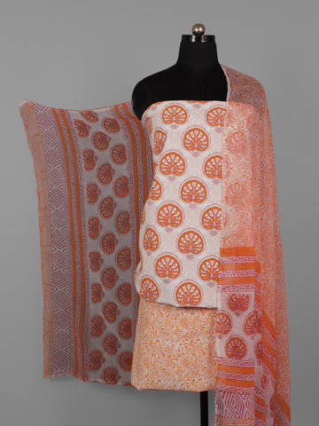 Ivory Rust Orange Hand Block Printed Cotton Suit-Salwar Fabric With Chiffon Dupatta (Set of 3) - S16281288