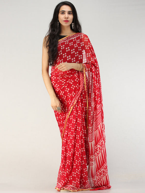 Red OffWhite Hand Block Printed Chiffon Saree with Zari Border - S031704563