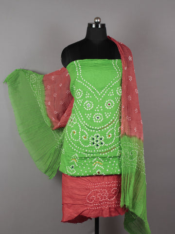 Pastel Green Red White Hand Tie & Dye Bandhej Suit Salwar Dupatta (Set of 3) With Hand Embroidery & Mirror Work - S16281250