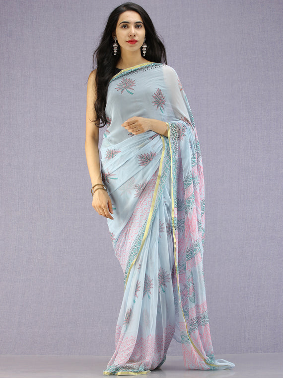 Baby Blue Pink Green Hand Block Printed Chiffon Saree with Zari Border - S031704594