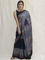 Indigo Ivory Black Red Ajrakh Hand Block Printed Modal Silk Saree - S031704125