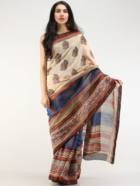 Indigo Beige Red Hand Block Printed Maheswari Silk Saree With Zari Border - s031704549