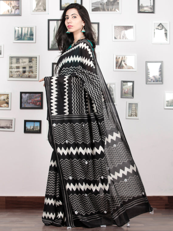 Black White Grey Hand Block Printed Cotton Mul Saree With Mirror Work & Tassels  - S031703026