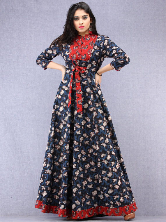 Haseen - Hand Block Printed Long Cotton Dress With Stand Collar  - D391F1843