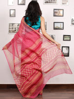 Pink Beige Hand Block Printed Kota Doria Saree In Natural Colors - S031703479