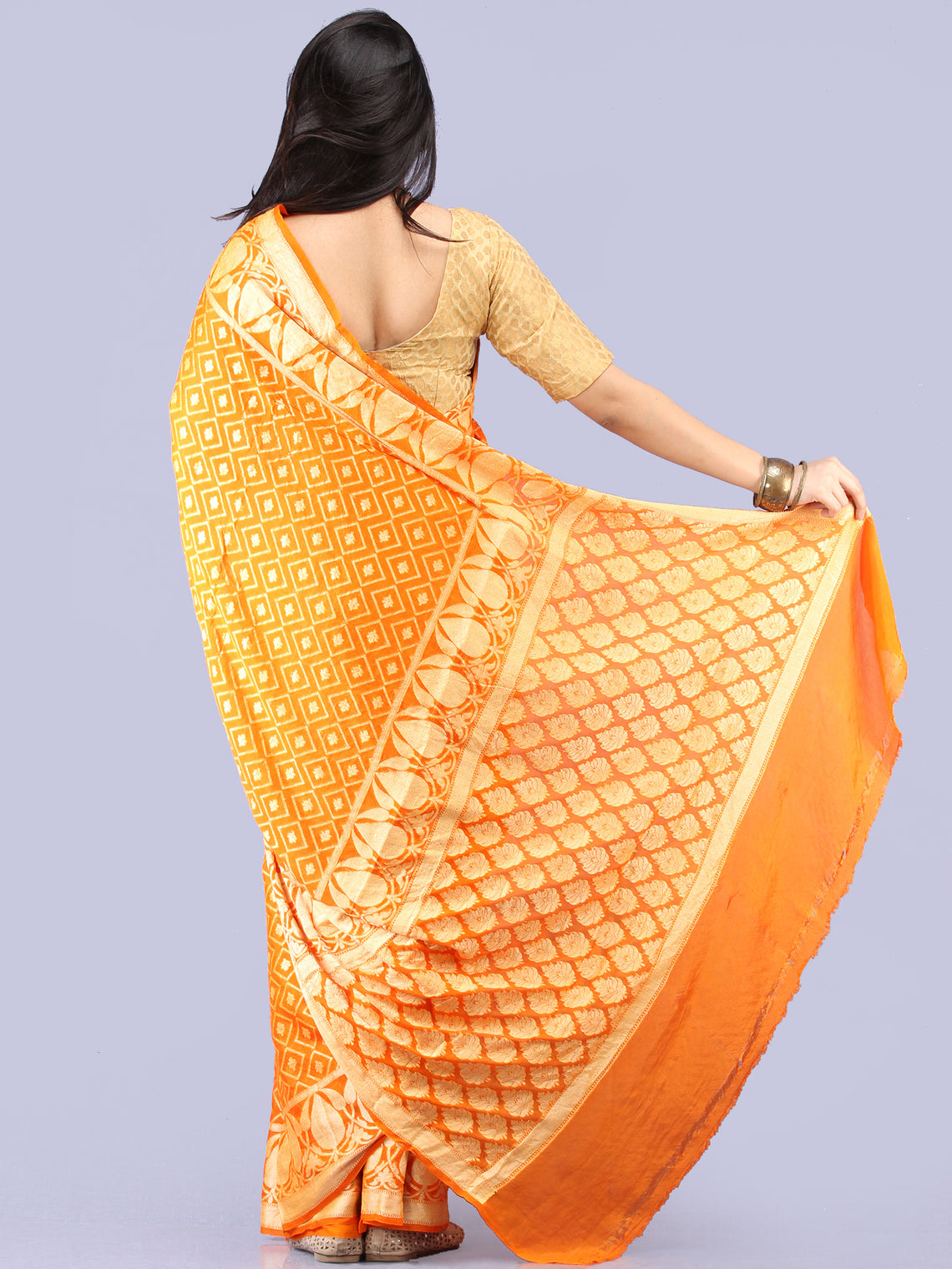 Banarasee Pure Chiffon Saree With Zari Work - Orange Gold - S031704299