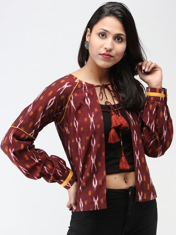 Maroon Mustard Hand Woven Ikat Jacket With Hand made Tassels  - J11FXXX