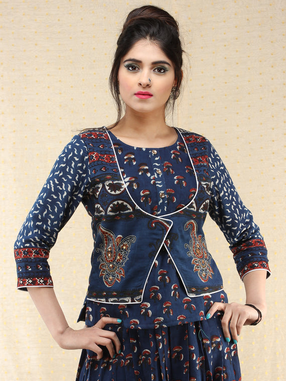 Naaz Furozan - Hand Block Printed Long Embroidered Jacket Top & Skirt  - DS88F002