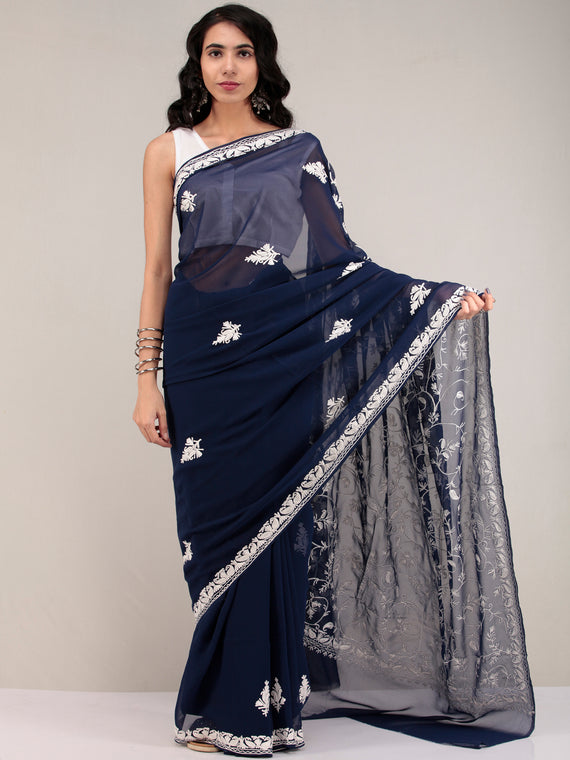 Blue Aari Embroidered Georgette Saree From Kashmir - S031704635