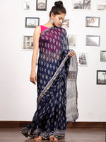 Indigo White Hand Block Printed Chiffon Saree with Zari Border - S031703165