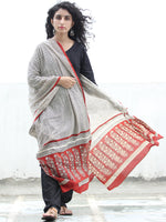 Ivory Rust Black Cotton Hand Block Printed Dupatta   - D04170407