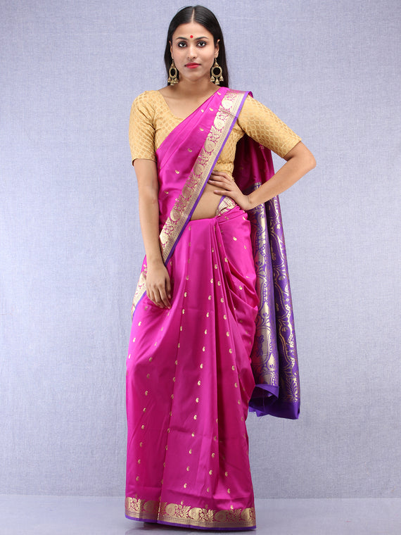 Banarasee Art Silk Saree With Zari Work  - Onion Pink Gold & Purple - S031704412