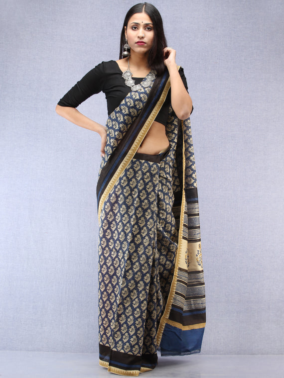 Indigo Ivory Hand Block Printed Chanderi Saree With Geecha Border - S031704491