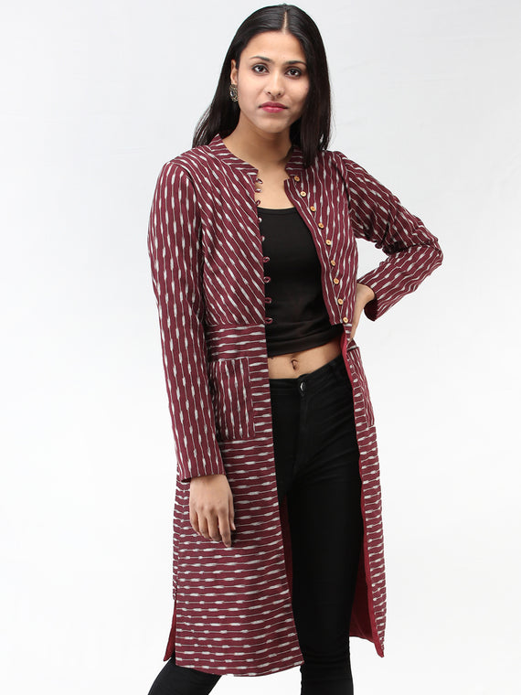Maroon Grey Hand Woven Ikat Long Jacket With Stand Collar - J06FXXX