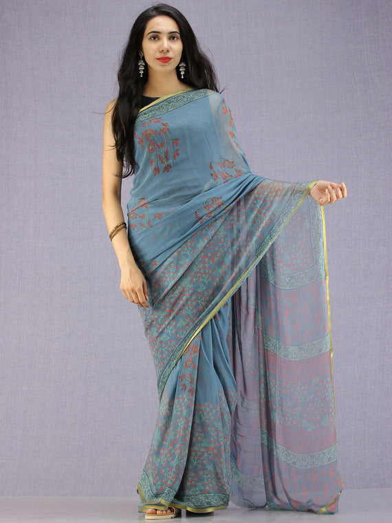 Steel Blue Red Green Hand Block Printed Chiffon Saree with Zari Border - S031704595