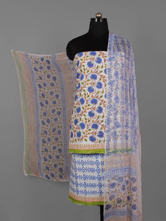 Ivory Blue Green Hand Block Printed Cotton Suit-Salwar Fabric With Chiffon Dupatta (Set of 3) - S16281289
