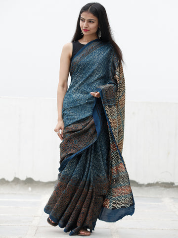 Indigo Black Maroon Beige Ajrakh Hand Block Printed Modal Silk Saree in Natural Colors - S031703705