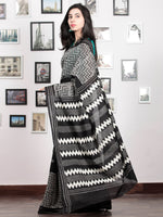 Black White Grey Hand Block Printed Cotton Mul Saree   - S031703028