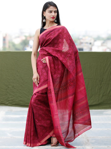 Deep-Pink Black Bagh Hand Block Printed Maheswari Silk Saree With Resham Border - S031703838