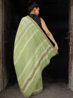 Pistachio Green White Chanderi Silk Hand Block Printed Saree With Geecha Border - S031703619