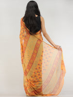 Yellow Green Hand Block Printed Chiffon Saree with Zari Border - S031704564