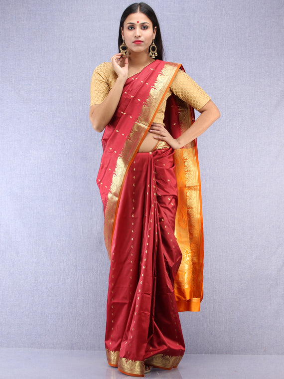 Banarasee Art Silk Saree With Zari Work - Maroon Yellow & Gold - S031704413