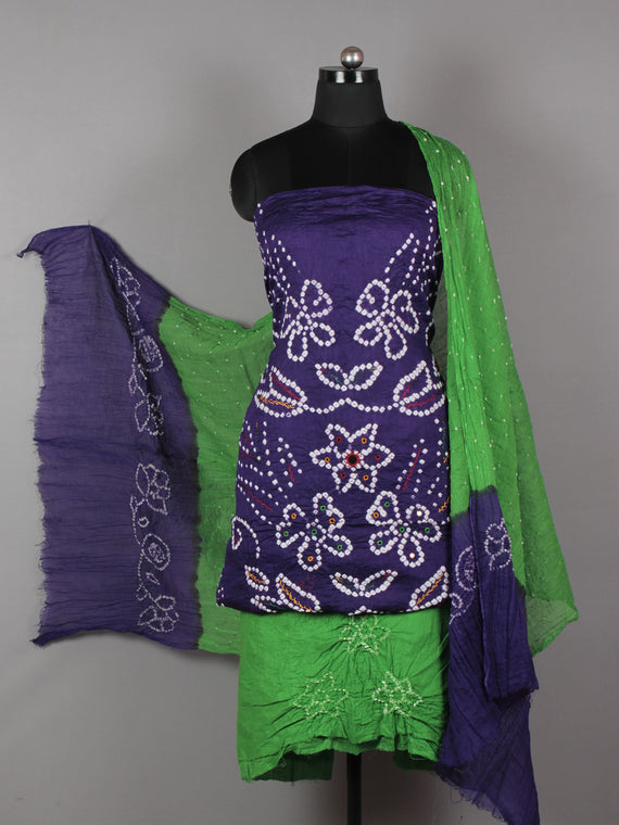 Purple Green Indigo White Hand Tie & Dye Bandhej Suit Salwar Dupatta (Set of 3) With Hand Embroidery & Mirror Work - S16281252