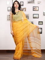 Yellow Mustard Ivory Hand Block Printed Kota Doria Saree In Natural Colors - S031703481