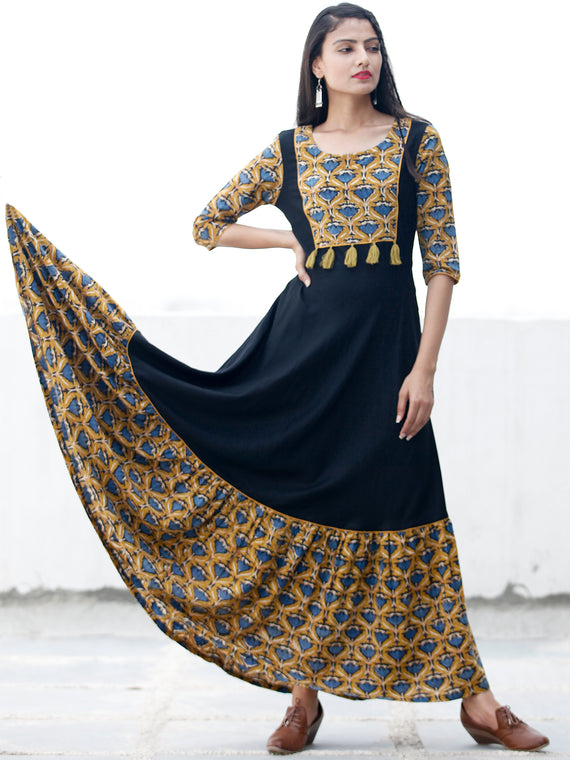 Mustard Indigo Black Hand Blocked Long Cotton And Rayon Dress With Tassel Details - D181F1377