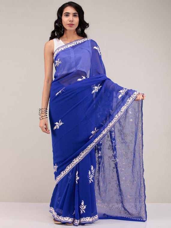 Royal Blue Aari Embroidered Georgette Saree From Kashmir - S031704636
