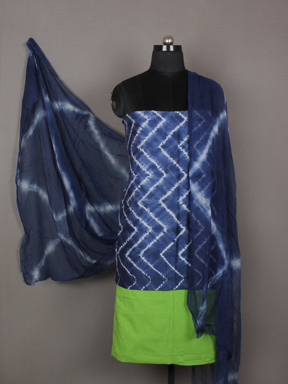 Indigo Ivory Lime Green Hand Shibori Dyed Chanderi Kurta & Chiffon Dupatta With Cotton Salwar Fabric Set of 3- S1628202